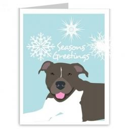 Pit Bull Blue Season's Greetings Note Cards (#1)